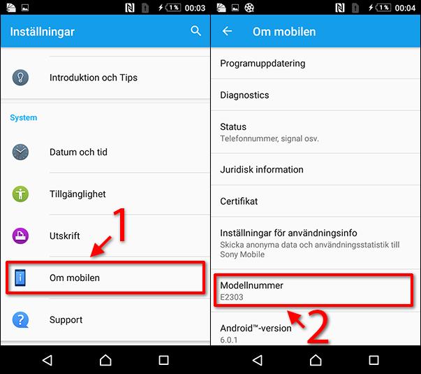 Android - Se modellnummer - Modell av telefon