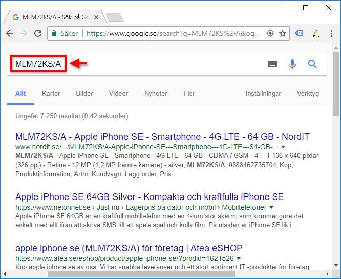 Google - Sök efter modellnummer - Se faktiskt namn