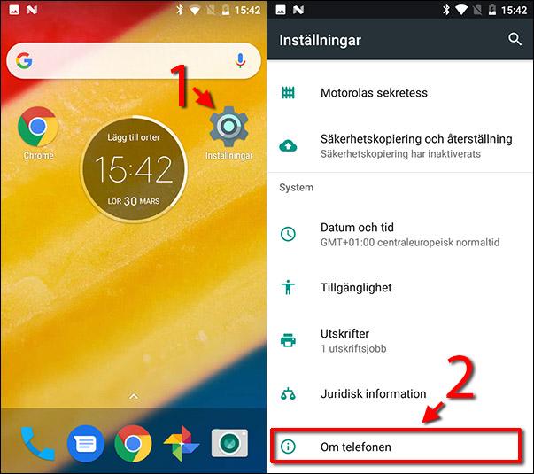 Android - Se eget telefonnummer - Inställningar - Om telefonen