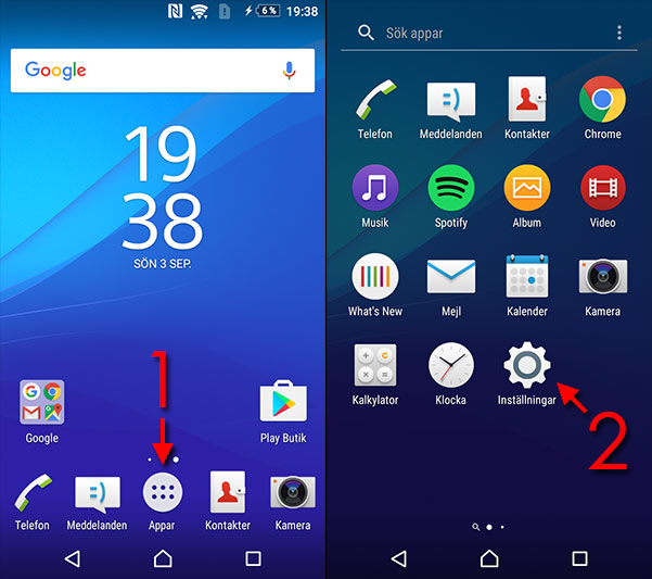 Android - Se eget telefonnummer - Appar - Inställningar