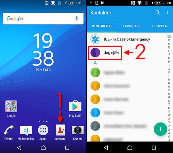 Android - Se telefonnummer - Kontakter - Jag själv