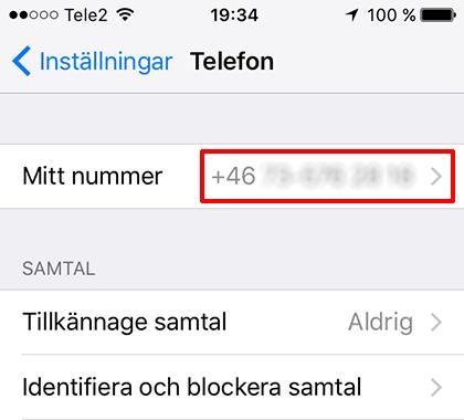 iPhone - Se telefonnummer - Inställningar - Telefon - Mitt nummer