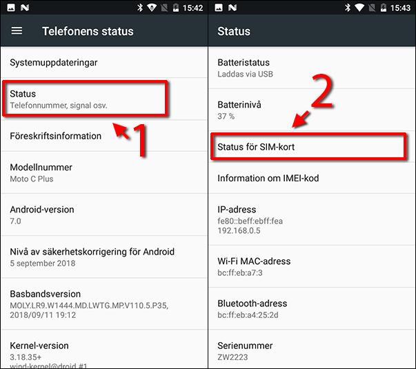 Se eget nummer Android - Status för SIM-kort