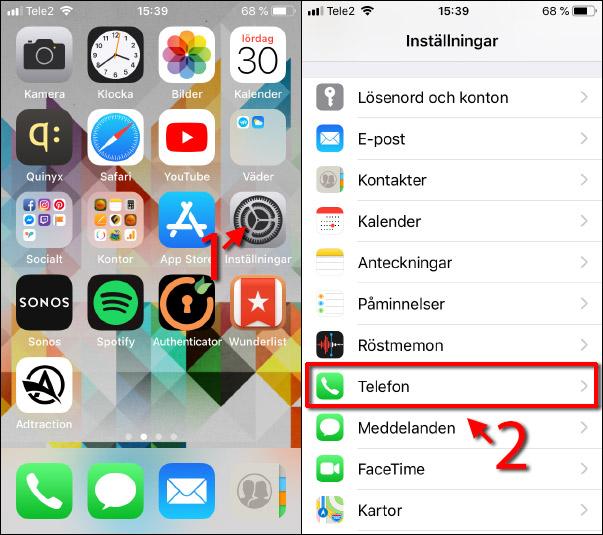 Se eget telefonnummer - iPhone - Inställningar - Telefon