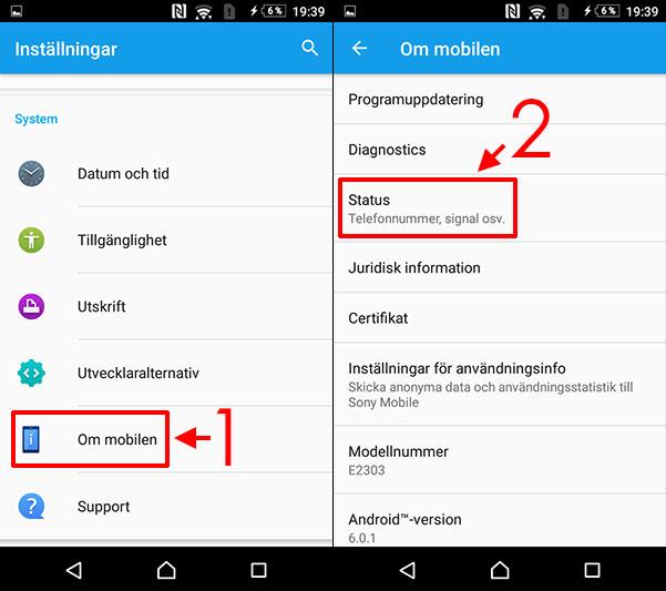 Se telefonnummer - Android - Om mobilen - Status
