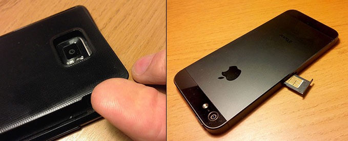SIM-kort - Baksida - iPhone - Android-telefon - Ta ur