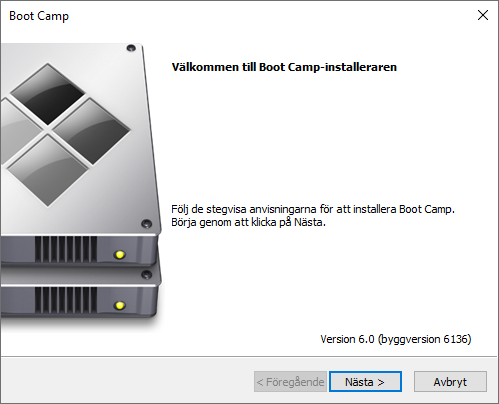 Boot Camp - Installeraren - Windows 10 - Nästa
