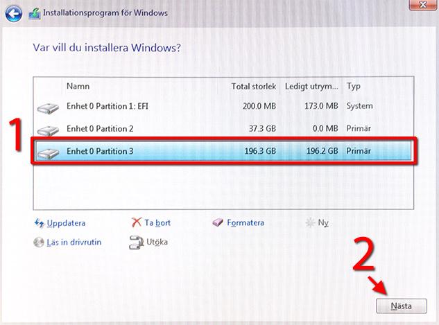 Bootcamp - Enhet - Partition - Windows 10 - Nästa