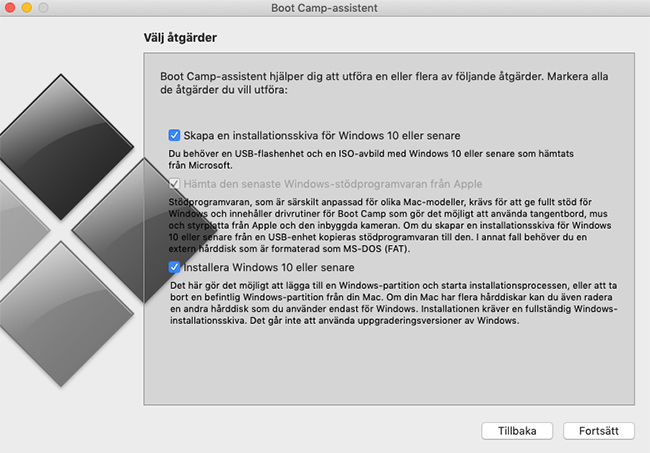 Bootcamp - Skapa en installationsskiva för Windows 10