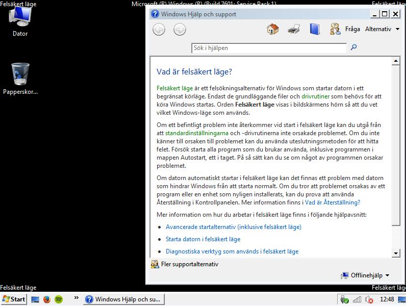 Felsäkert läge Windows - 1