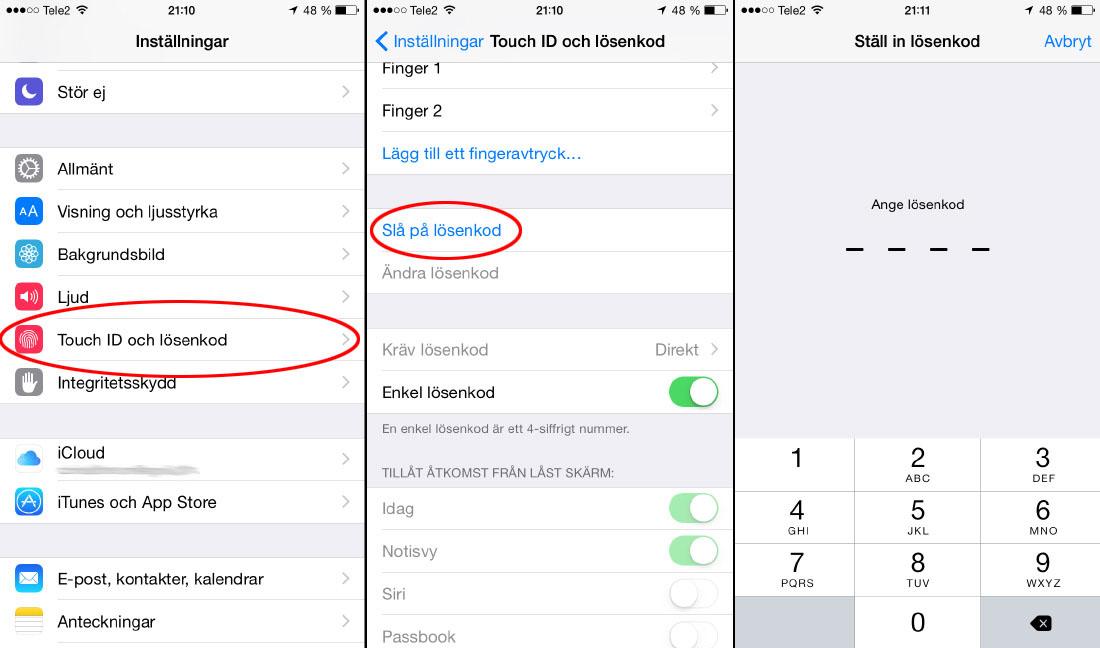 iPhone - Lösenkod på