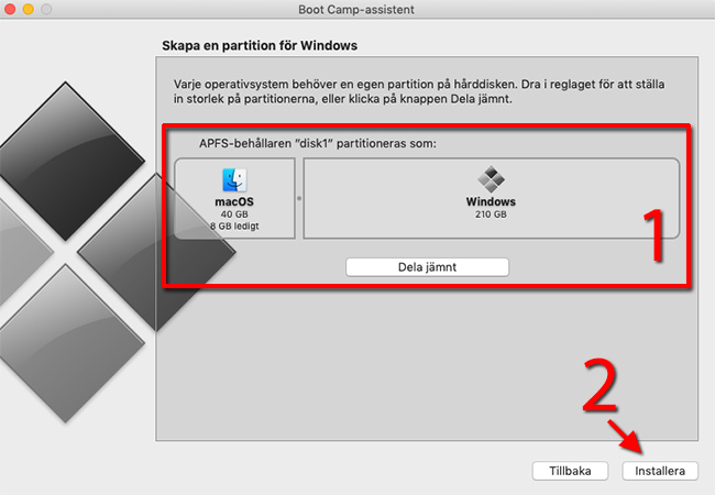 Skapa en partition för Windows - macOS - Dela