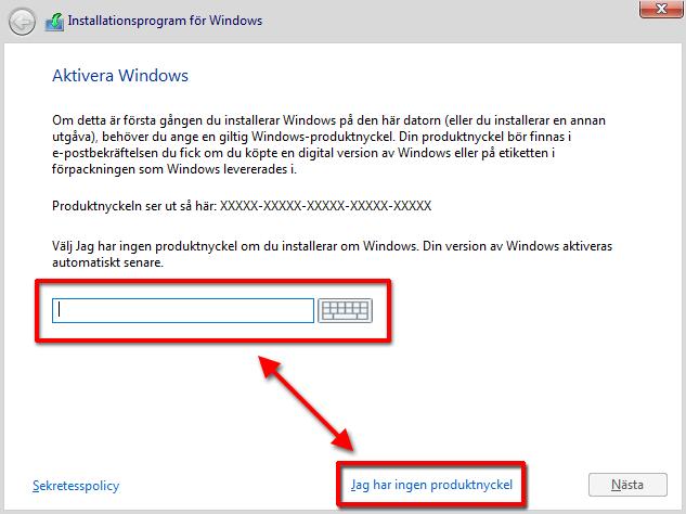 Windows 10 - Bootcamp - Mac - Aktivera Windows - Installera