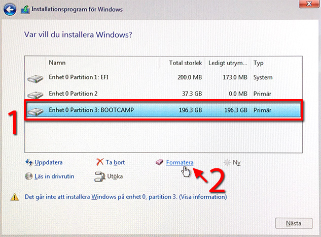 Windows 10 - Mac - Bootcamp - Installera - Formatera - Partition