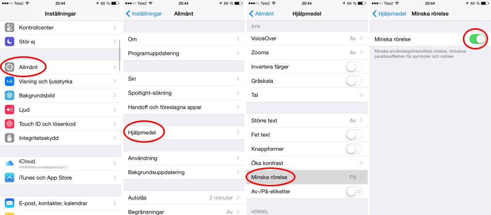 iPhone - Batteritid - Minska rörelse