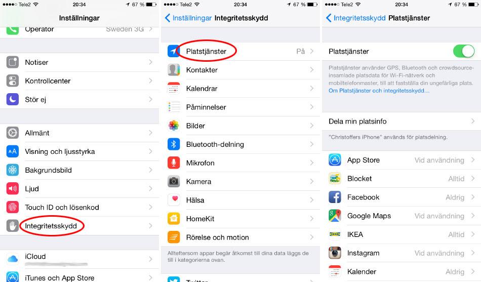 iPhone - Batteritid - Platstjänster