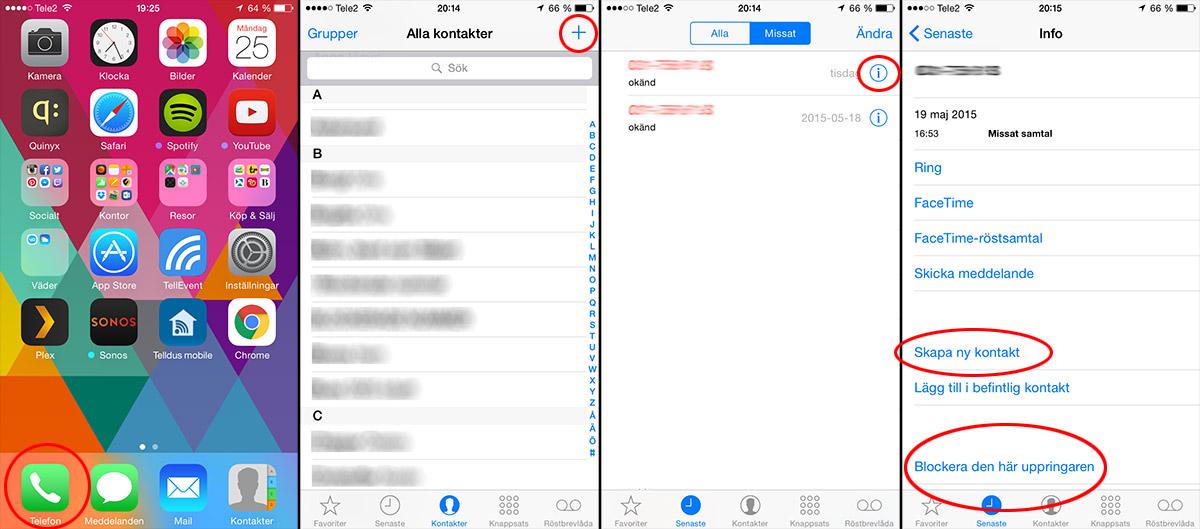 Blockera en kontakt på iPhone