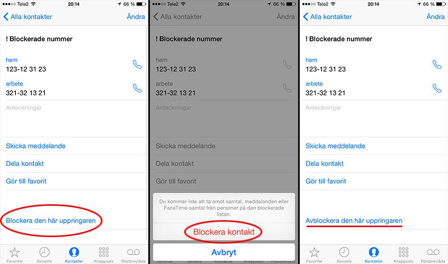 Blockera kontakt på Apple iPhone