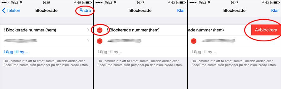 iPhone - Tillåt ett blockerat nummer igen