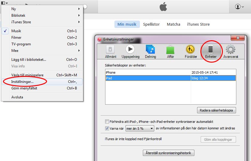 iTunes - Enheter Säkerhetskopia