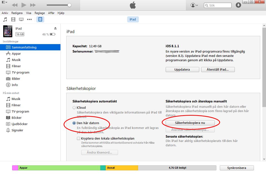 Återställ iPhone iPad i iTunes