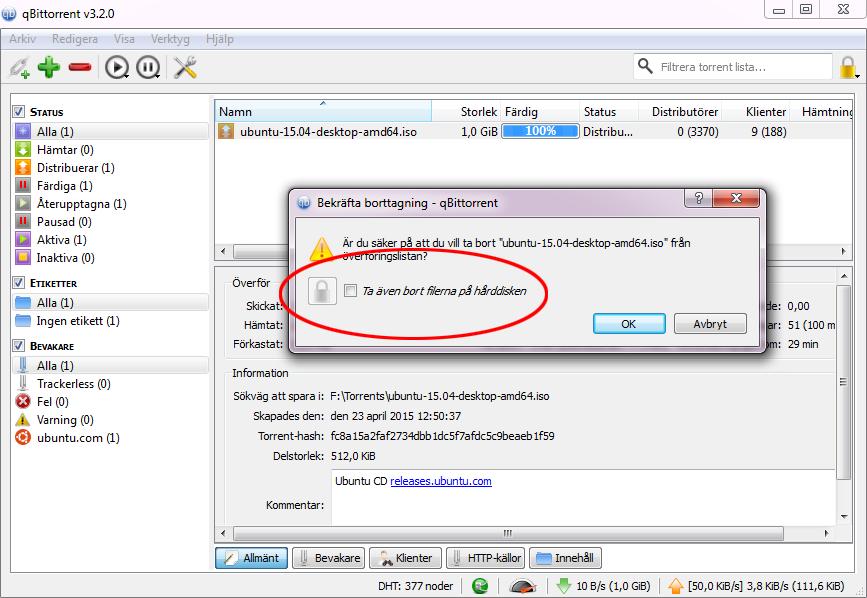 Ta bort en nedladdat torrent-fil 2