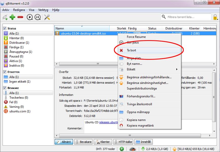Ta bort en nedladdat torrent-fil 1