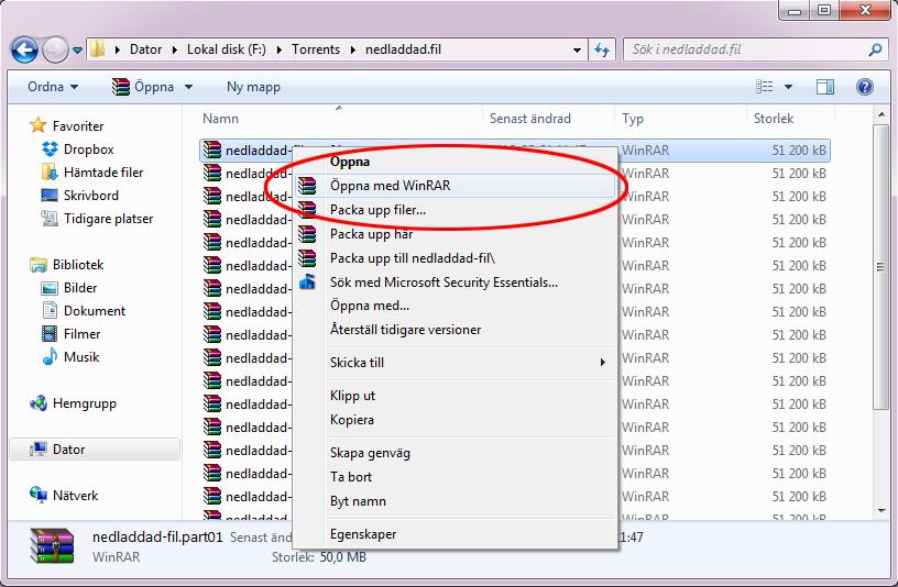 Öppna en RAR-fil på Windows med WinRAR