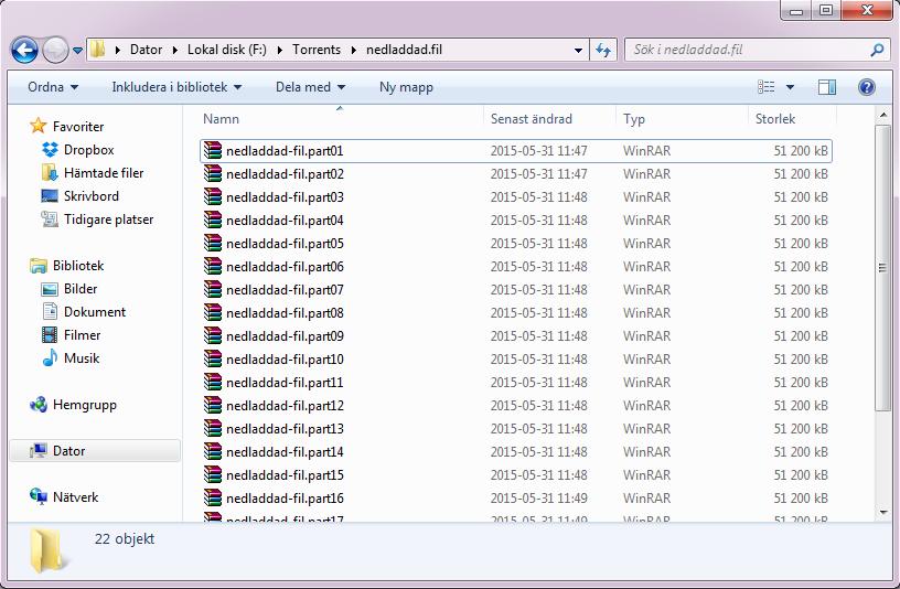Ett RAR-arkiv med en mängd nedladde RAR-filer