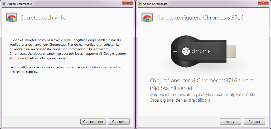 Anslut Chromecast till Wi-Fi-nätverk 1