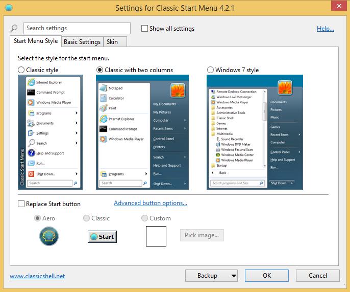Välj utseende Classic Shell Start Menu Windows 8