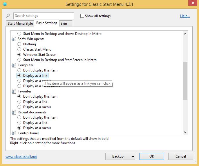 Inställningar i Classic Shell Start Menu Start-meny Windows 8