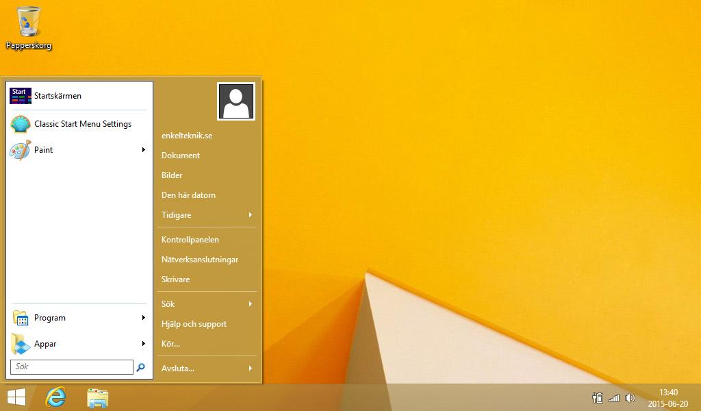 Classic Shell Start Menu - Start-meny Windows 8.1