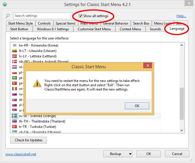 Välj språk Classic Shell Start-meny Windows 8
