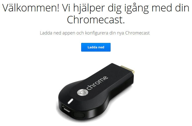 Installera Chromecast - Ladda ner programvara