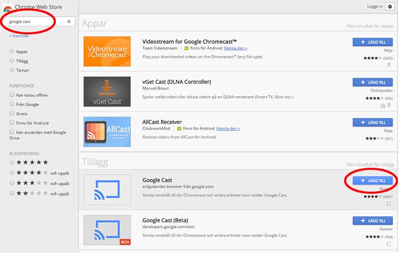 Ladda ner Google Cast till webbläsaren Chrome