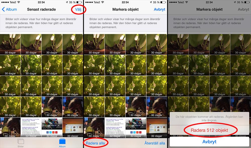 ta bort alla bilder iphone