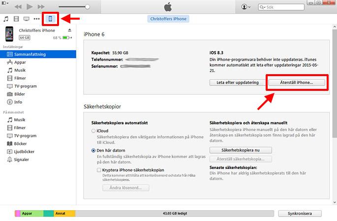 iPhone iPad - Fabriksåterställning - Startar inte - iTunes - iPad