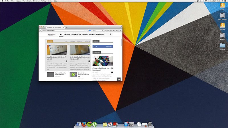 Print Screen Mac OS X - Hela skärmen Skärmytan