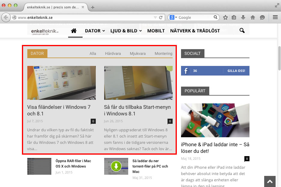 Print Screen Mac OS X - Viss del av skärmen Skärmytan
