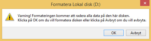 Windows formatera hårddisk USB exfat varning