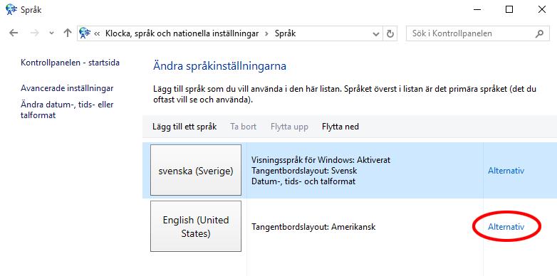 Ändra språk Windows 10 - Klicka på Alternativ