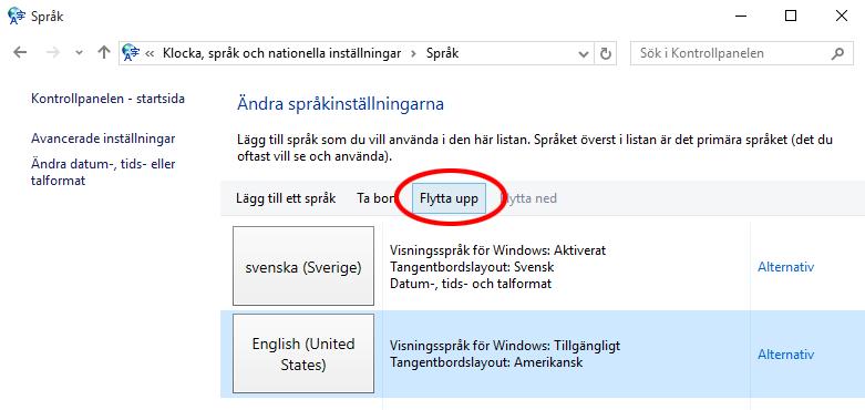 Ändra språk Windows 10 - Välj standardspråk