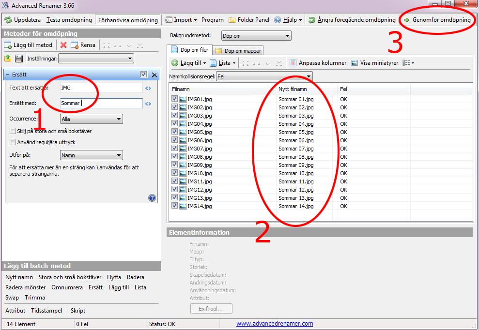 Advanced Renamer - Ämdra filer filnamn samtidigt