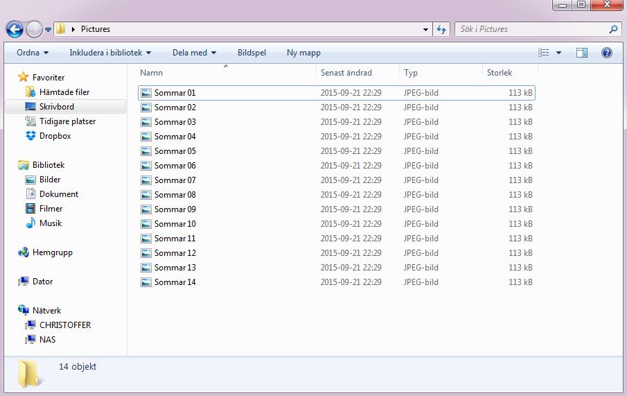 Advanced Renamer - Filnamn på flera ändrade filer