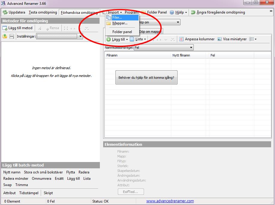 Advanced Renamer - Lägg till filer - Byta namn