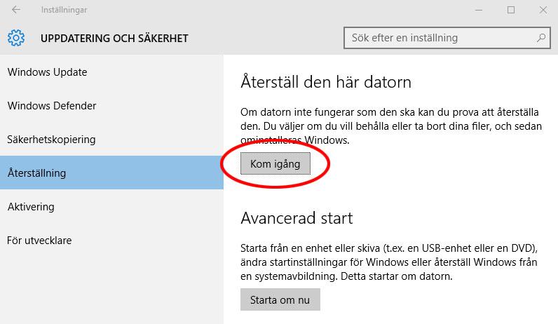 Windows 10 - Återställ den här datorn