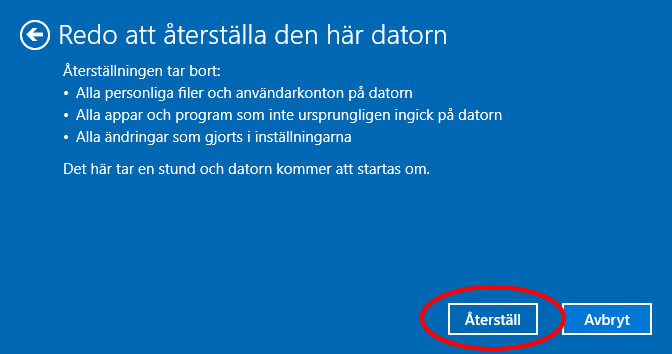 Återställ Windows 10 - Redo att återställa
