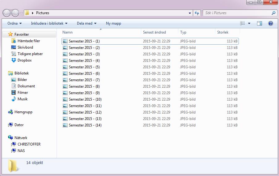 Byt namn på flera filer samtidigt - Skriv in namn och tryck Enter