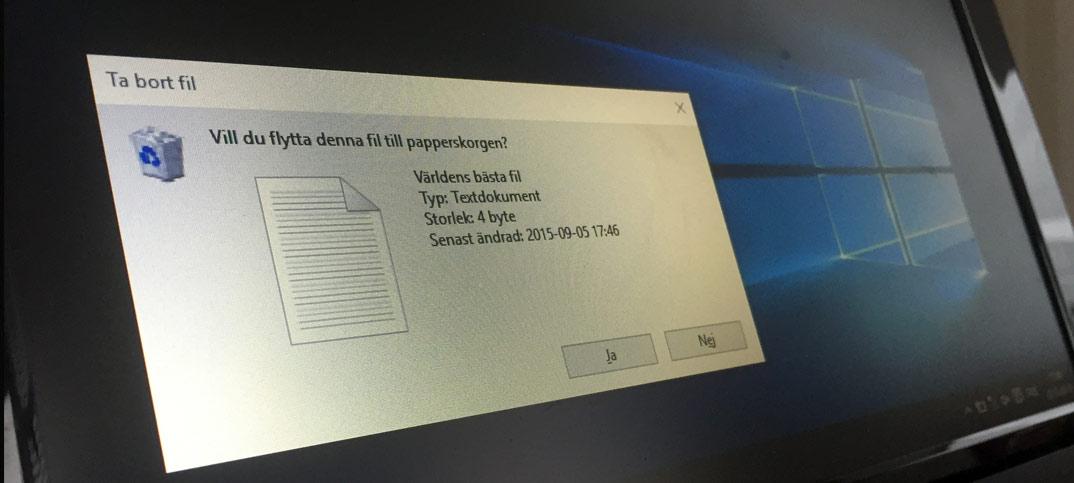 Titelbild - Bekräftelse vid borttagning av fil - Windows 10